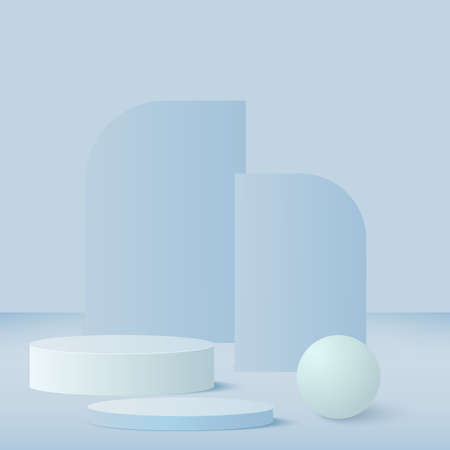 Abstract background with blue color geometric 3d podiums. Vector.