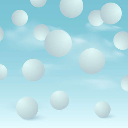 Abstract background with falling 3d blue balls. Vector illustration.