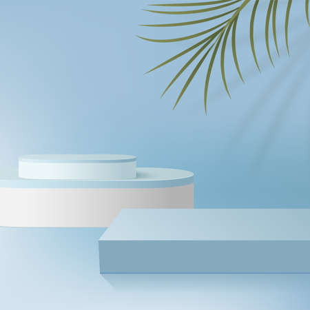 Abstract background with blue color geometric 3d podiums. Vector illustration.