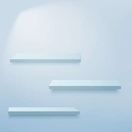Abstract background with 3d blue empty shelves on the wall. Vector. Vectores