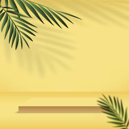 Abstract background with yellow color geometric 3d podiums. Vector illustration.