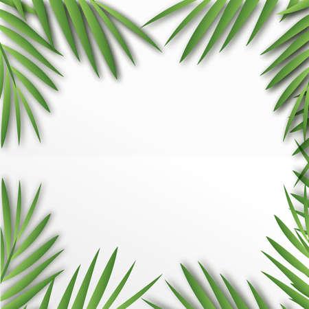 Tropical square frame with palm tree leaves. Vector. Ilustração