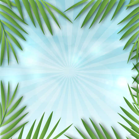 Sunshine background with palm tree leaves. Vector.