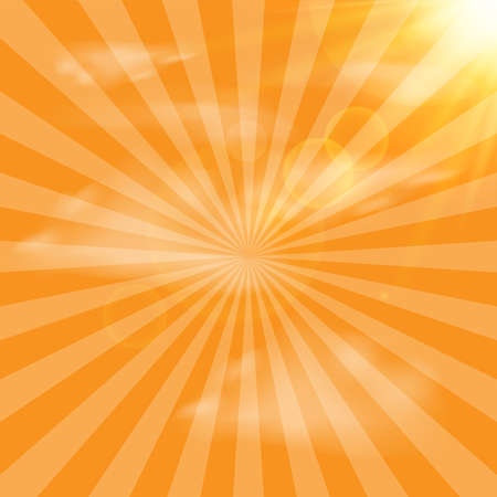Abstract background with yellow sun rays. Vector. Ilustração