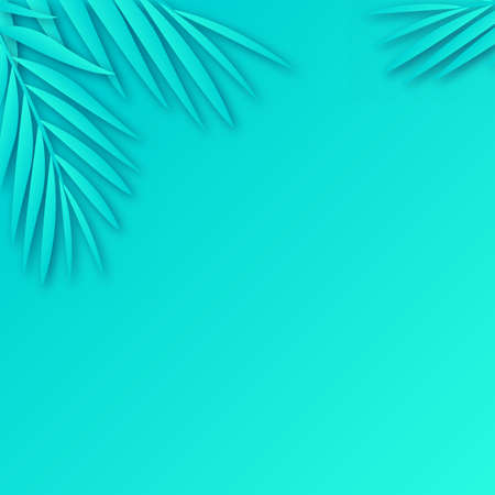 Tropical paper palm leaves frame with soft shadow. Vector.