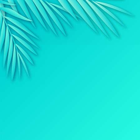 Tropical paper palm leaves frame with soft shadow. Vector Ilustração
