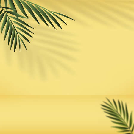 Abstract yellow gradient background with palm leaves. Vector.