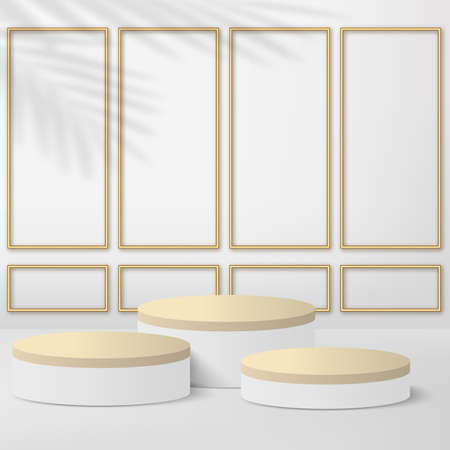 Abstract background with white geometric 3d podiums. Vector illustration
