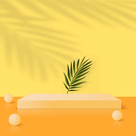 Abstract background with yellow geometric 3d podiums. Vector illustration Ilustração