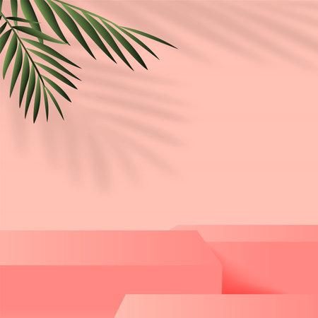 Abstract background with pink geometric 3d podiums. Vector illustration Ilustração