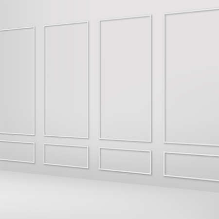 Classic white interior wall. Vector.