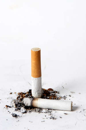 Putting out a cigarette on a white background.