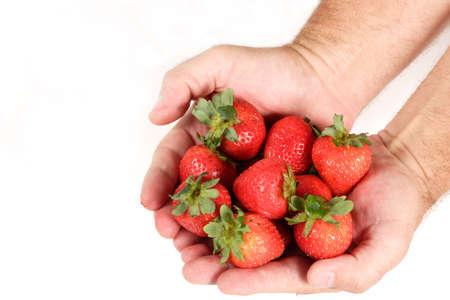明るい赤いイチゴの握り。白い背景で隔離されました。