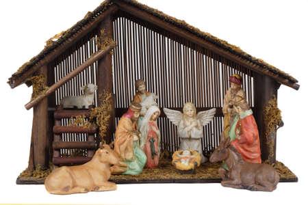 Religieuze kribbe met Jezus in de stal. Stockfoto