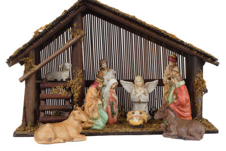 Religious nativity scene with  Jesus in the stable. Banco de Imagens