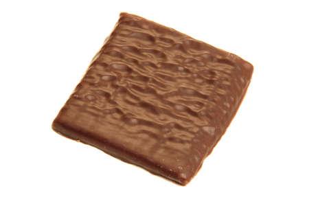 초콜릿 민트 웨이퍼 흰색 배경에 고립. 스톡 콘텐츠