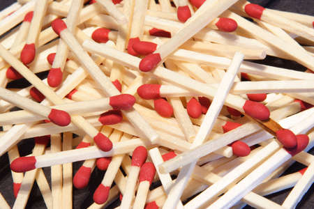 Pile of wood match sticks with a red tip. Stock fotó - 714756