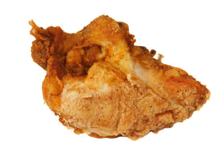 Crispy Golden Brown fried chicken breast front on a white background.