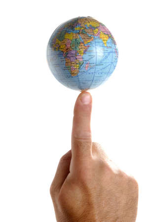 finger tip: Got the world at his finger tips. Hand with the planet earth on a finger tip. White Background.