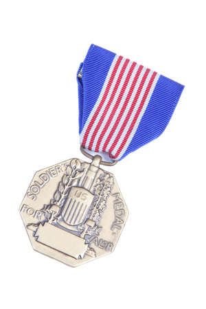 valor: Soldiers Medal for Valor isolated on a white background.   Stock Photo