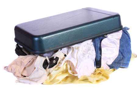 ransack: Luggage busted open with ladies underwear and bra hanging out.  Open luggage with underwear, socks and other cloths hanging out.