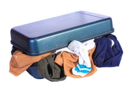 ransack: Open luggage with underwear, socks and other cloths hanging out.