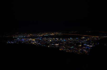 Penang city ariel view from Penang hill at night