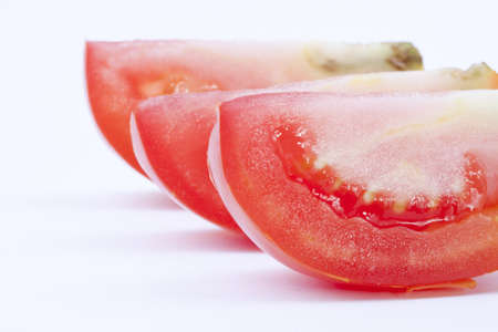 slice tomato: Slice tomato whith three slice and white background
