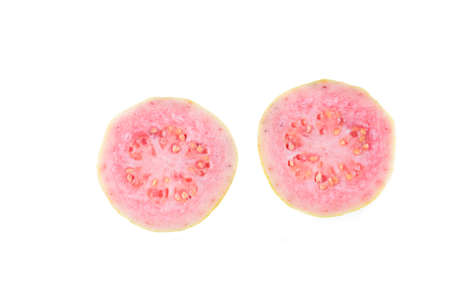 two piece: fresh two piece guava fruit on white background