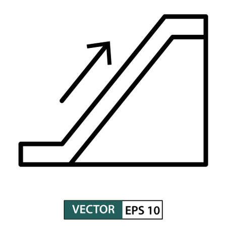 Escalator up icon. Line style. isolated on white background. Vector illustration Ilustração