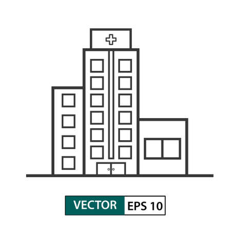 Hospital building icon. Outline style. Isolated on white background. Vector illustration EPS 10