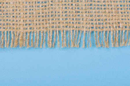 Close up of jute on blue background