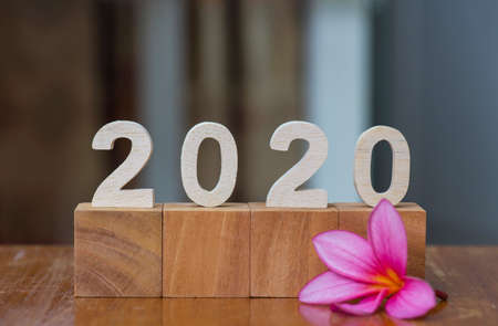 Wooden number of 2020 year with wooden cube and flower with blurred background