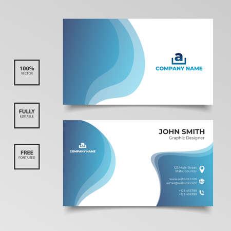 Diseño de plantilla de tarjeta de visita azul y blanco degradado. Ilustración vectorial Ilustración de vector