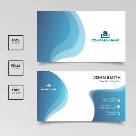 Disegno del modello di biglietto da visita blu e bianco sfumato. Illustrazione vettoriale Vettoriali