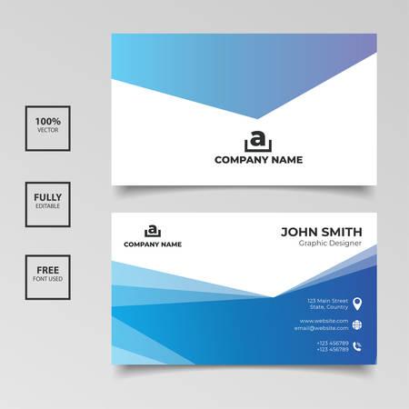 Conception de modèle de carte de visite bleu dégradé simple élégance. Illustration vectorielle