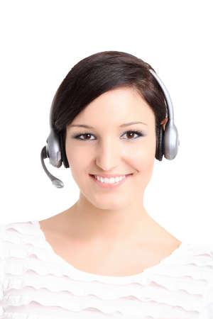 Cute call center technician portrait photo