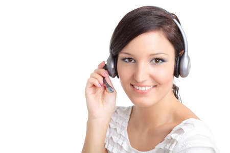 Happy call center technician with a headset photo