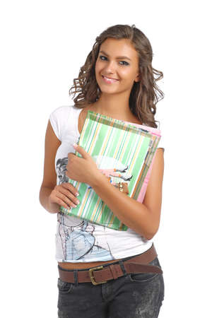 Young college girl with books and documents