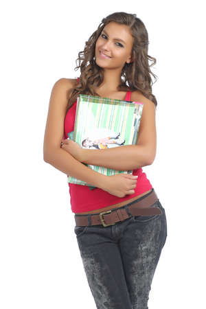 cute teen girl: Portrait of a young and happy college girl