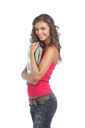 Beautiful college girl smiling Stock Photo - 10576338