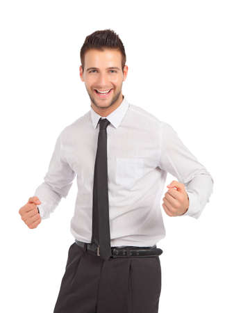 Happy and cheerful businessman in studio