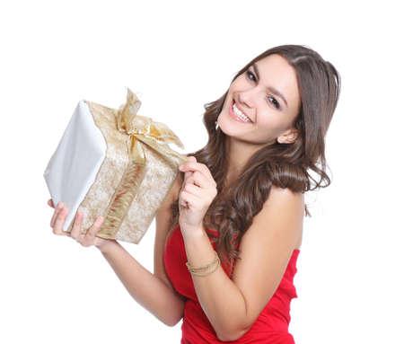 Fr�hliche Frauen mit einem Geschenk
