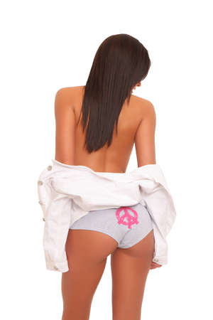 Cute girl from behind with a peace signed underwear Stock Photo