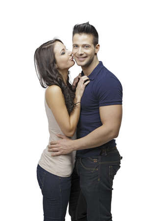 Cute women kissing her boyfriend photo