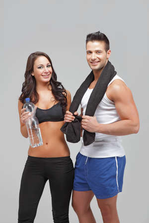 Young couple exercise together photo