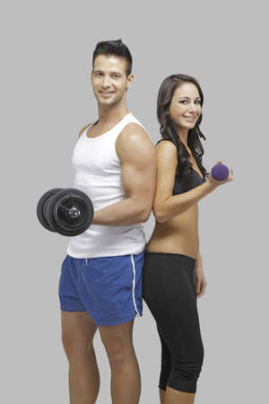 Happy couple workout together photo