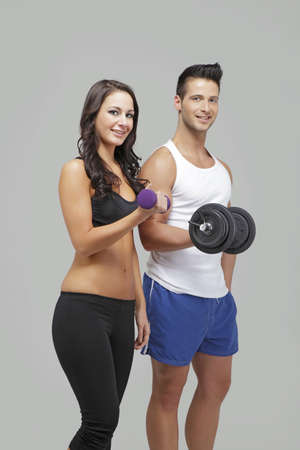 Men and women exercise together photo