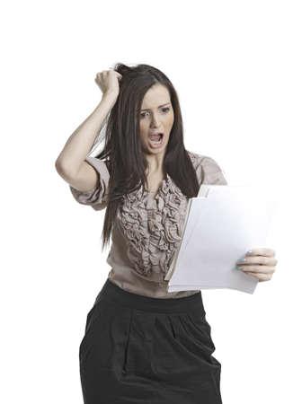 Gestresste Gesch�ftsfrau mit Papieren