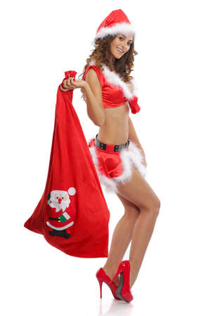 Sexy women wearing a sexy santa outfit photo